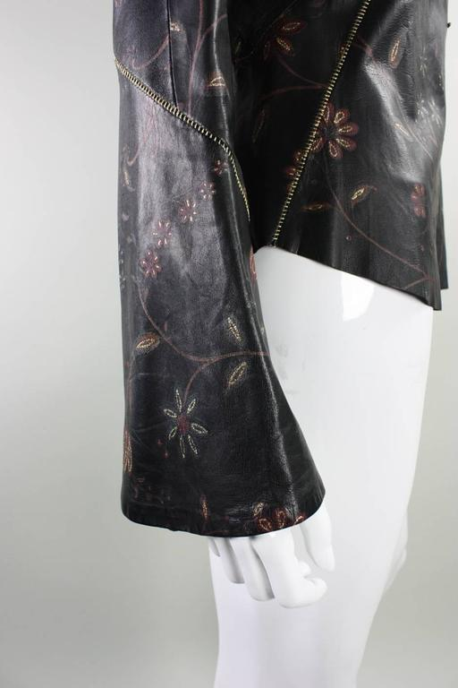 Roberto Cavalli Leather Blouse or Jacket with Gold Stitching For Sale 1