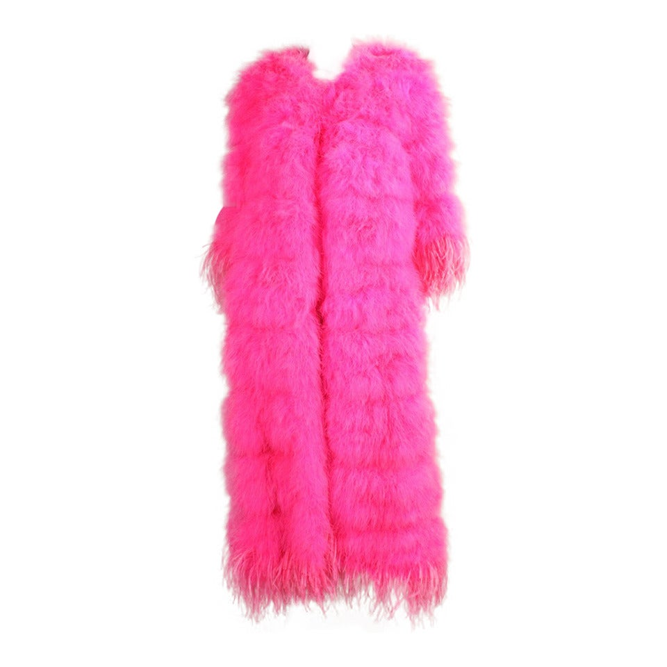 Full-Length Hot Pink Marabou Coat with Ostrich Feather Trim For Sale