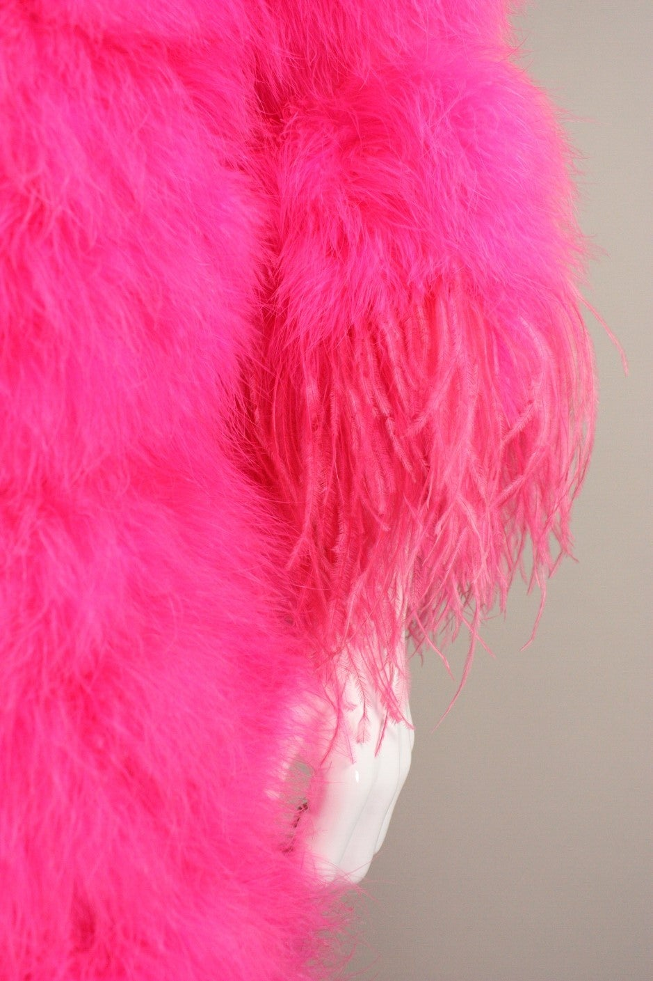 Full-Length Hot Pink Marabou Coat with Ostrich Feather Trim For Sale 2