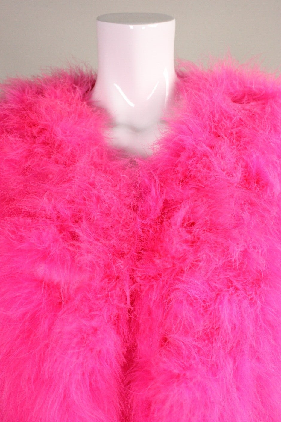 Full-Length Hot Pink Marabou Coat with Ostrich Feather Trim For Sale 1