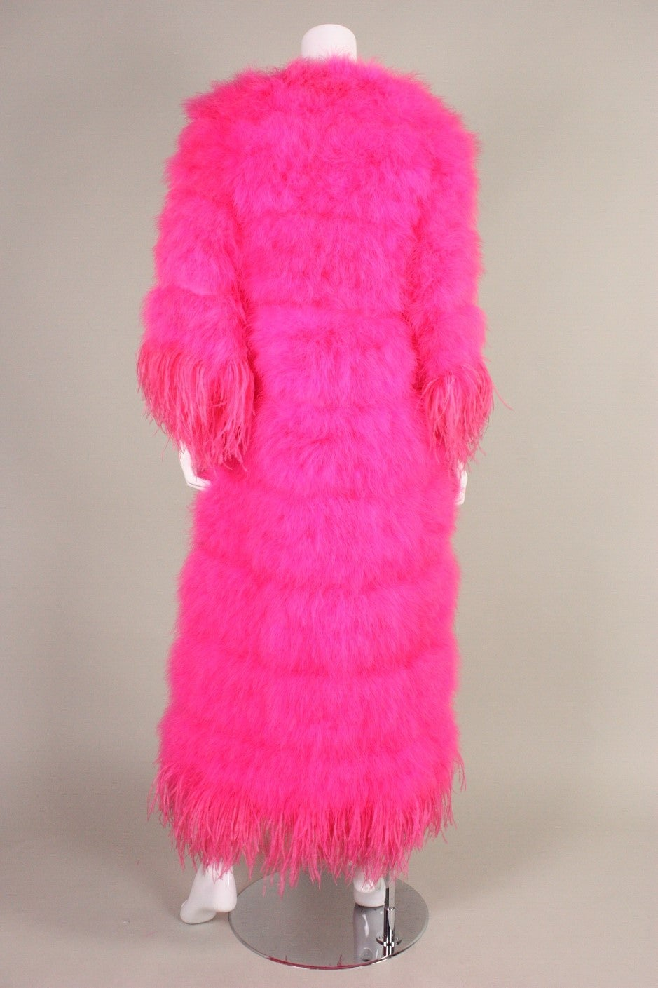 Women's Full-Length Hot Pink Marabou Coat with Ostrich Feather Trim For Sale