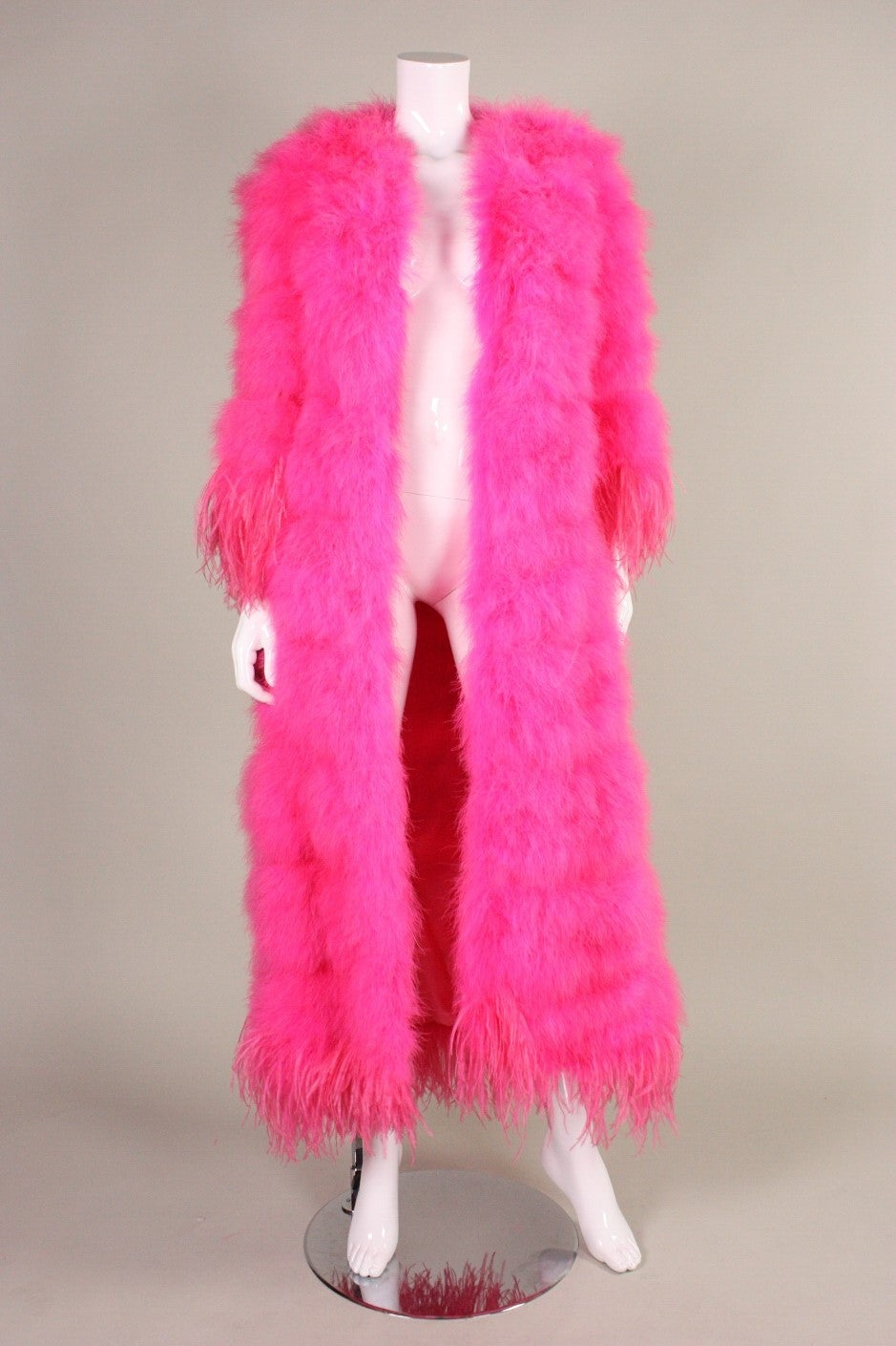 Full-Length Hot Pink Marabou Coat with Ostrich Feather Trim For Sale 3