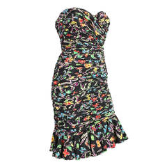Ungaro Ruched Floral Cocktail Dress, 1980s