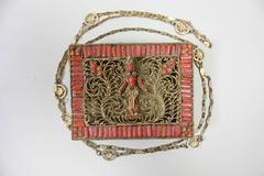 Mid-century Coral & Turquoise Filigree Handbag