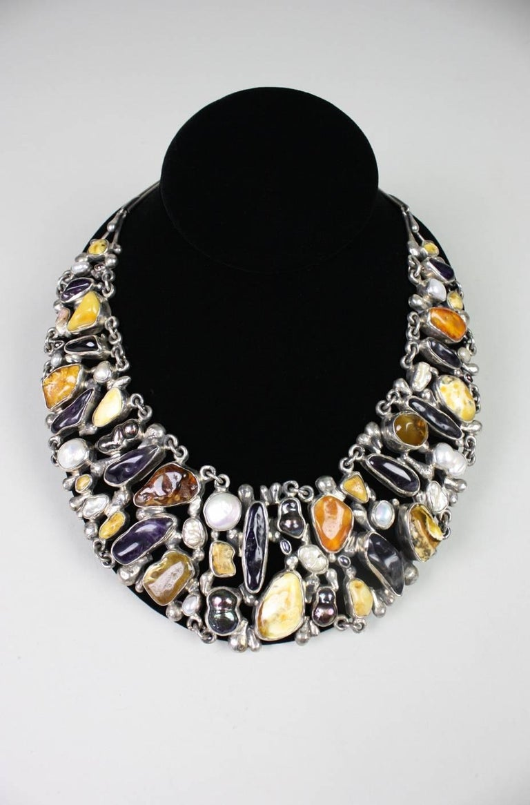 Jan Pomianowski Amber & Amethyst Sterling Silver Bib Necklace 2