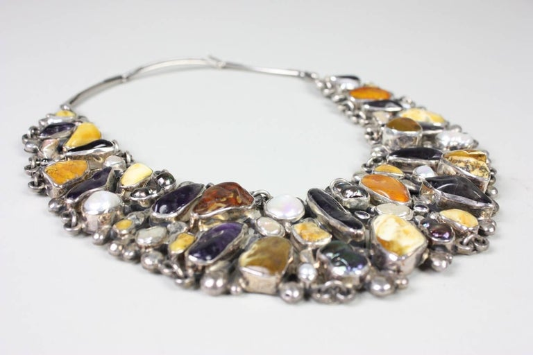 Jan Pomianowski Amber & Amethyst Sterling Silver Bib Necklace 9