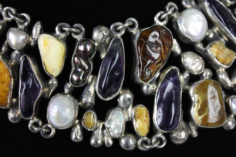 Jan Pomianowski Amber & Amethyst Sterling Silver Bib Necklace 7