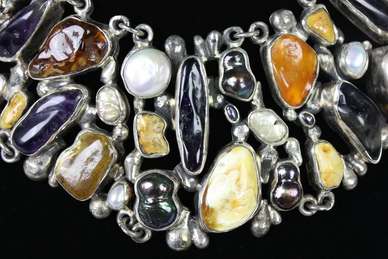 Jan Pomianowski Amber & Amethyst Sterling Silver Bib Necklace 6