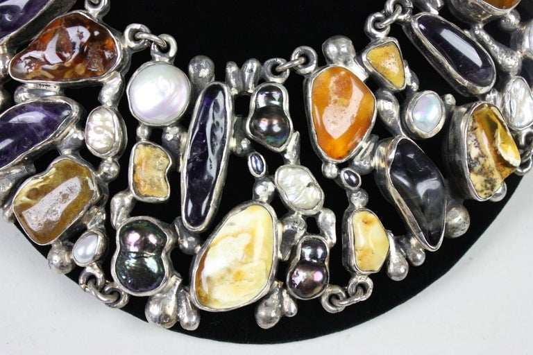 Jan Pomianowski Amber & Amethyst Sterling Silver Bib Necklace 5