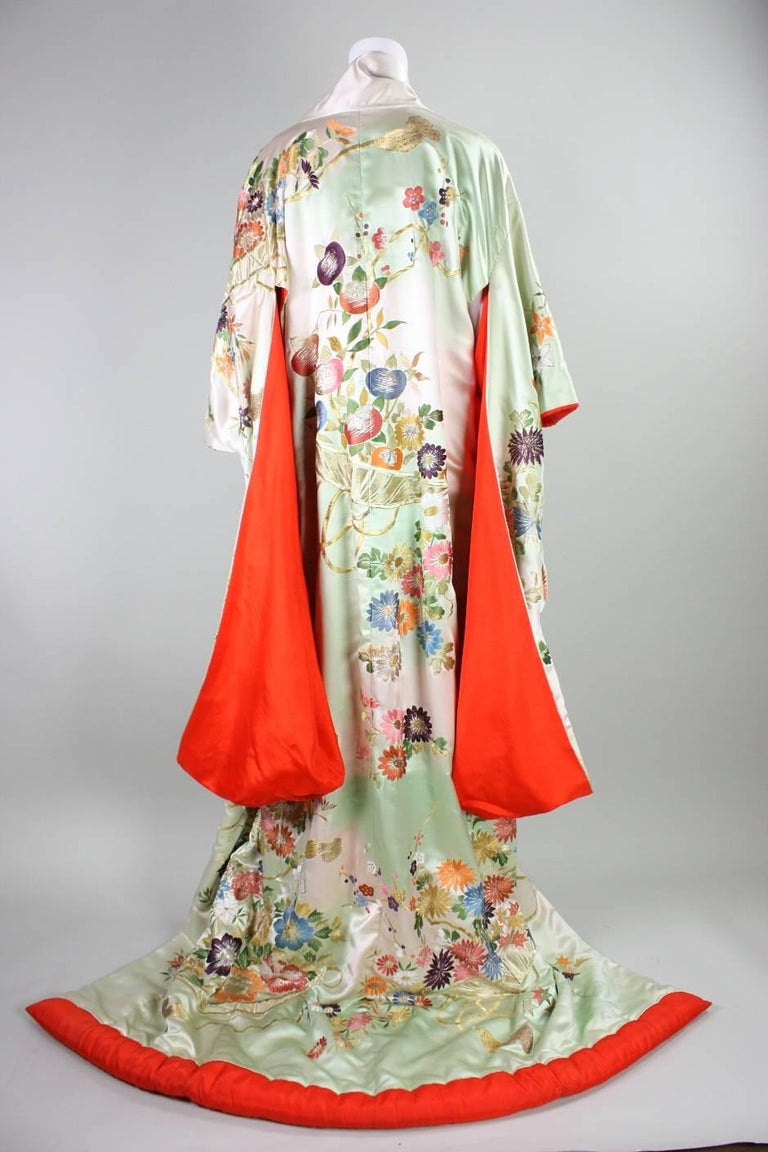 Vintage Japanese Embroidered Wedding Kimono For Sale At