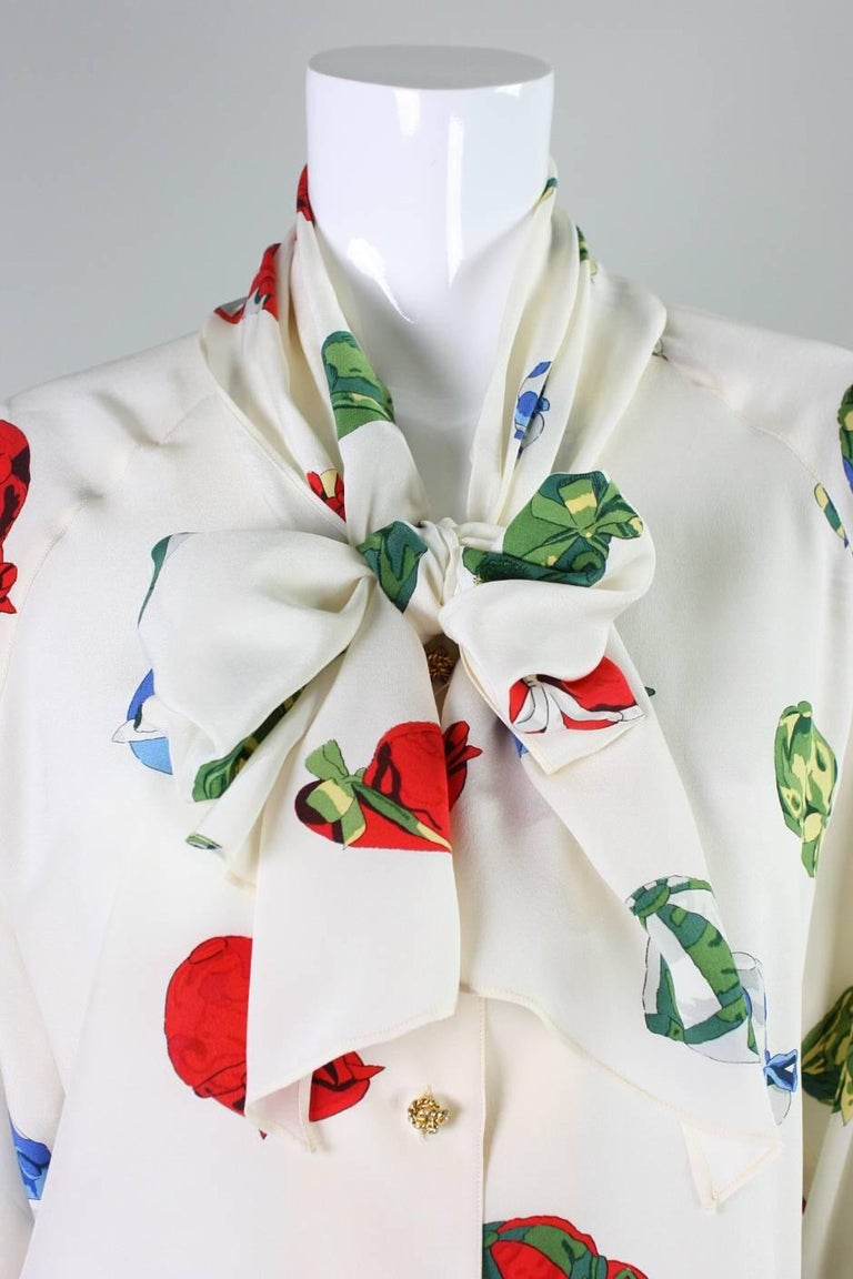 Women's Vintage Hermes Silk Blouse with Jockey Cap Print For Sale