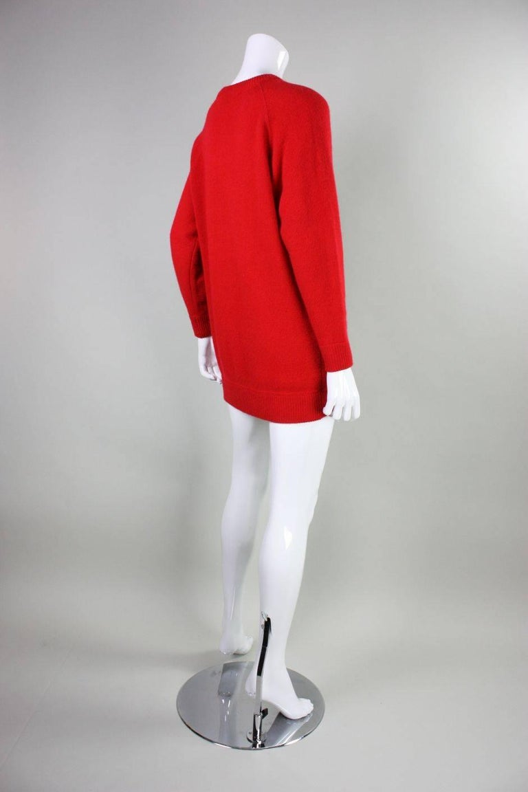 Red Vintage William Kasper Humorous Cashmere Sweater For Sale
