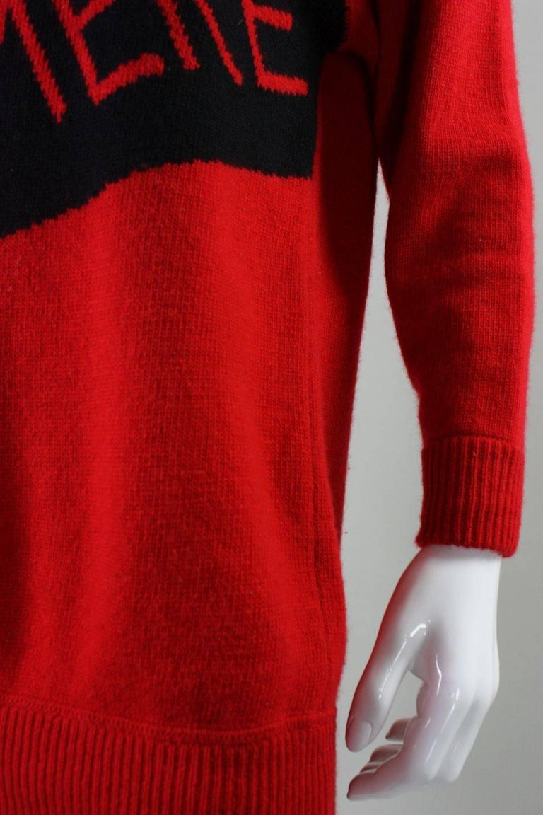 Vintage William Kasper Humorous Cashmere Sweater For Sale 1