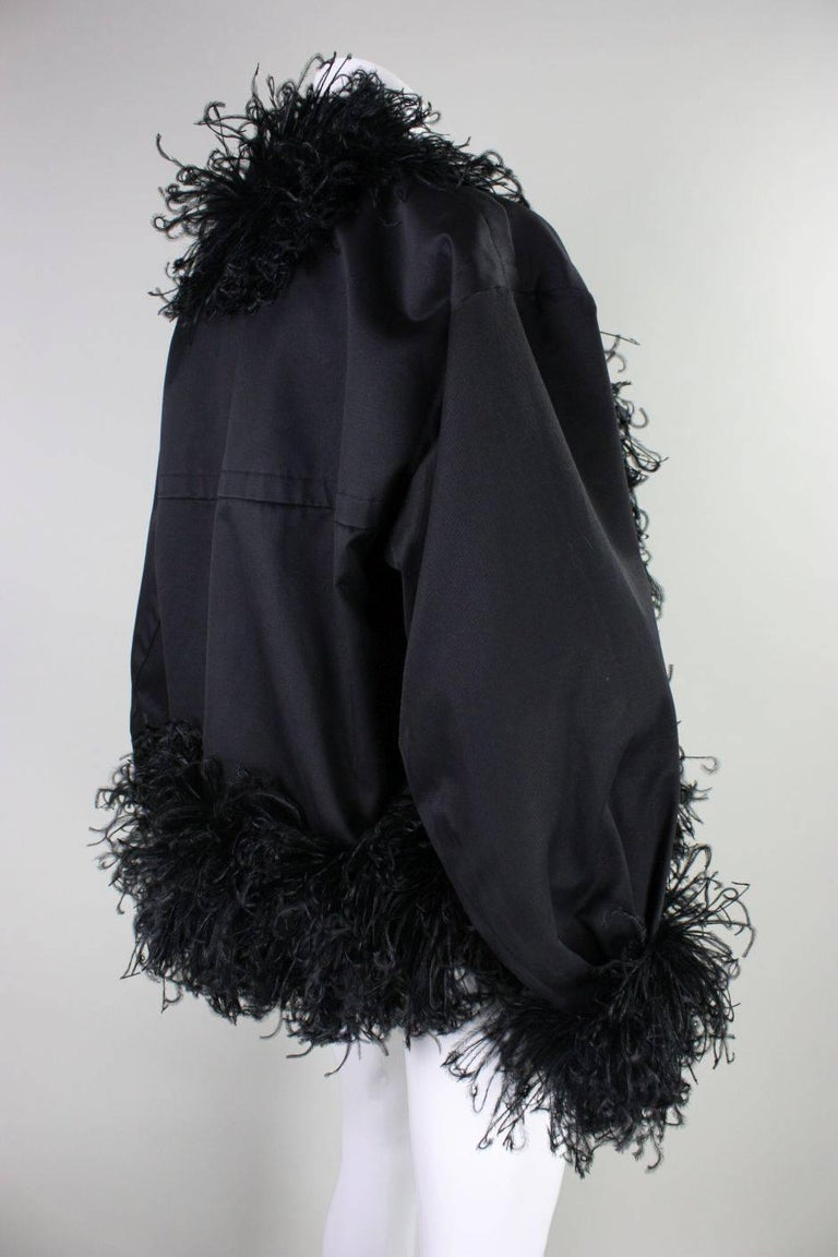 Black 1980's Yves Saint Laurent Jacket with Ostrich Feather Trim For Sale