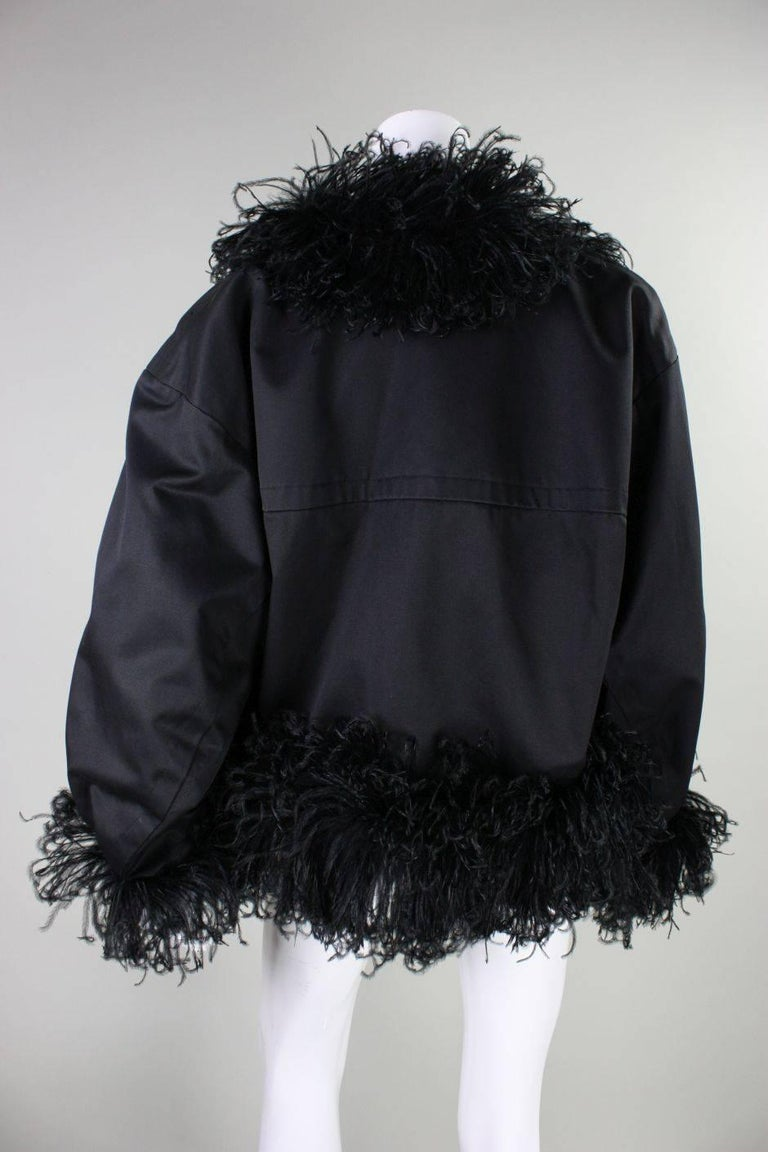 1980's Yves Saint Laurent Jacket with Ostrich Feather Trim In Excellent Condition For Sale In Los Angeles, CA