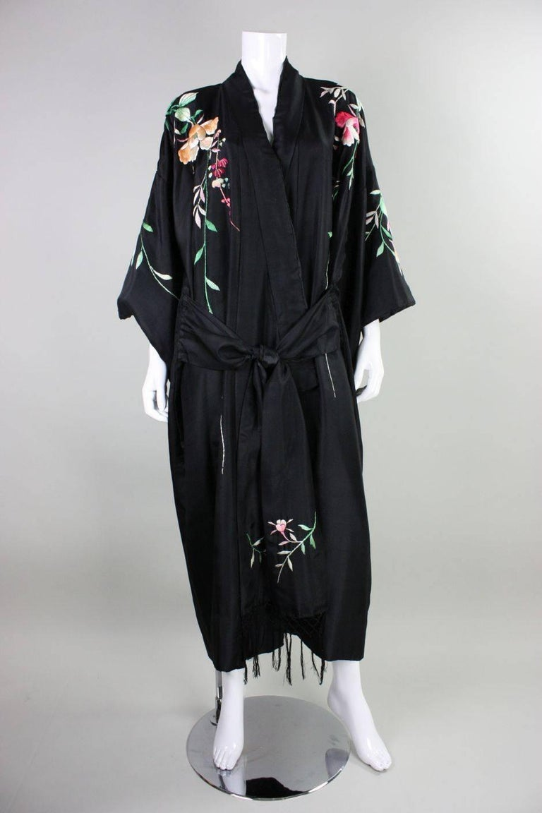 1920 S Kimono Robe Black Silk With Embroidery For Sale At