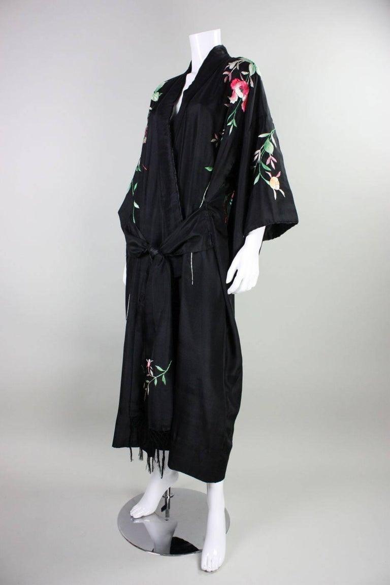 1920's Kimono Robe Black Silk with Embroidery 6
