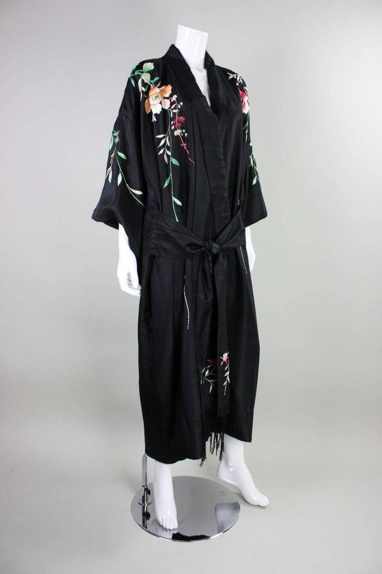 1920's Kimono Robe Black Silk with Embroidery 3