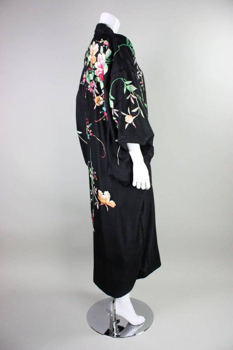 1920's Kimono Robe Black Silk with Embroidery 4