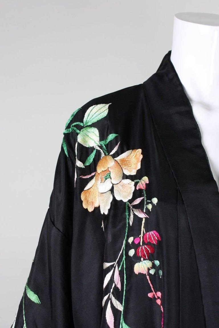 1920's Kimono Robe Black Silk with Embroidery 8