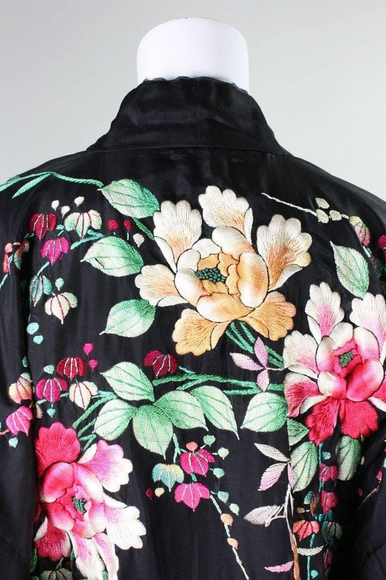 1920's Kimono Robe Black Silk with Embroidery 7