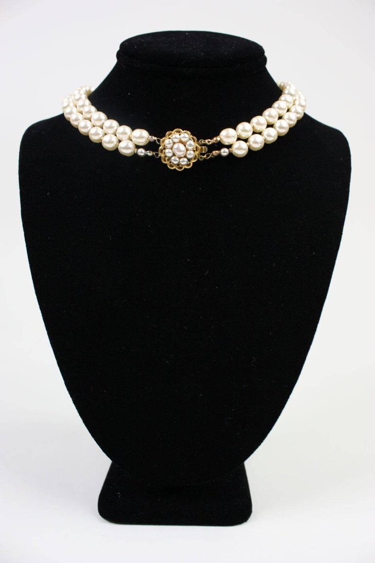 Miriam Haskell Baroque Pearl & Rhinestone Necklace 2