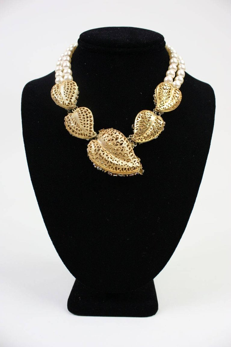 Miriam Haskell Baroque Pearl & Rhinestone Necklace 3