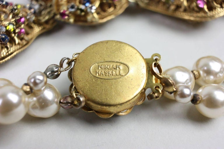 Miriam Haskell Baroque Pearl & Rhinestone Necklace 8