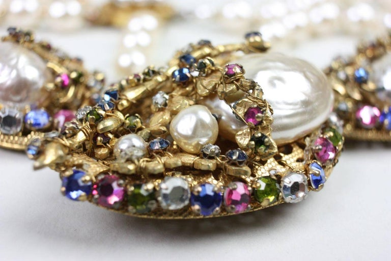 Miriam Haskell Baroque Pearl & Rhinestone Necklace 5