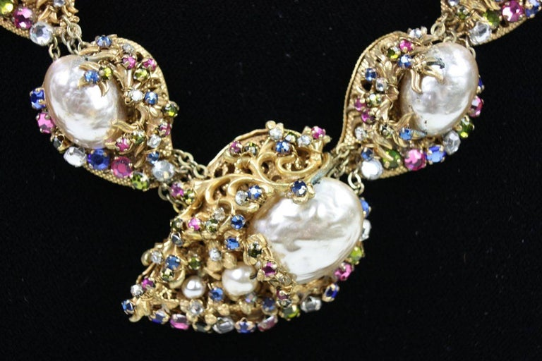 Miriam Haskell Baroque Pearl & Rhinestone Necklace 4