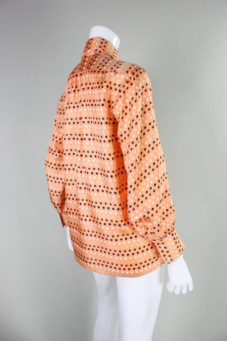Orange 1970's Valentino Polka-dotted Silk Blouse with Sash For Sale