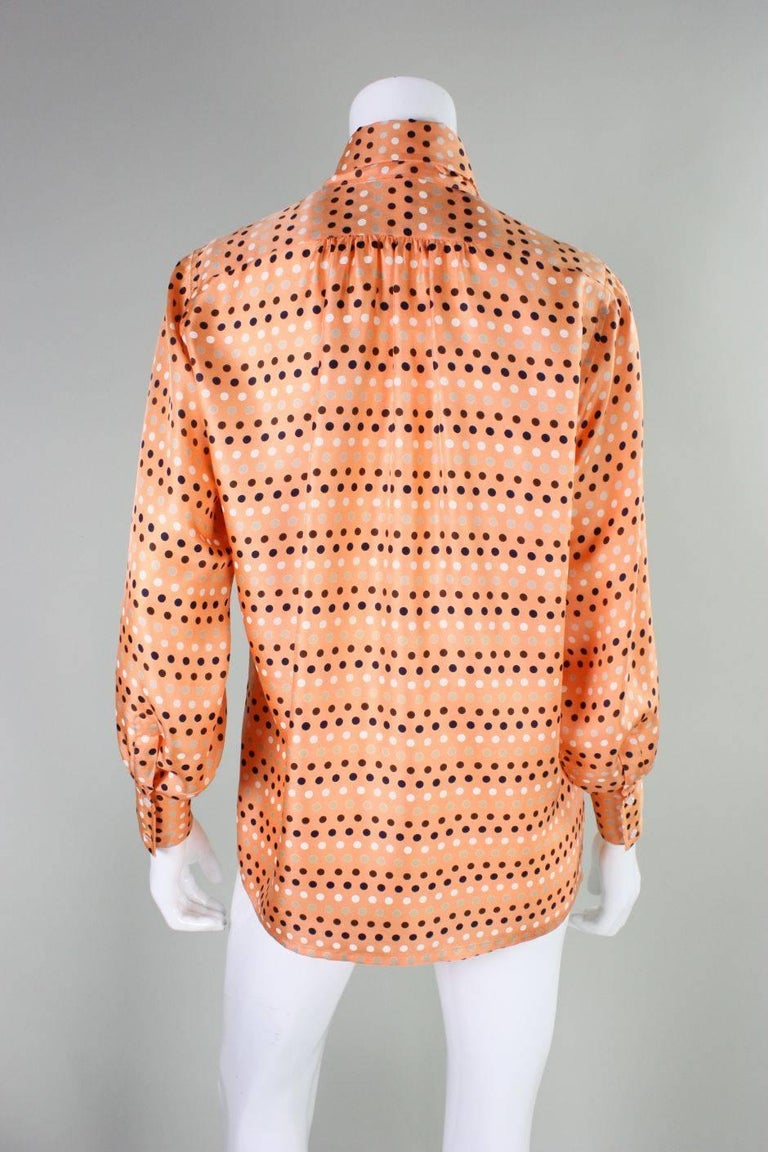 1970's Valentino Polka-dotted Silk Blouse with Sash In Excellent Condition For Sale In Los Angeles, CA