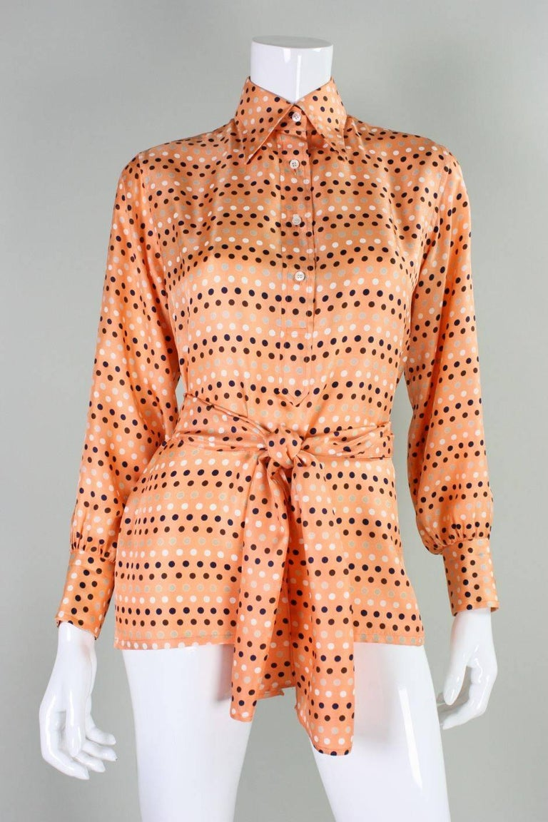 1970's Valentino Polka-dotted Silk Blouse with Sash For Sale 1