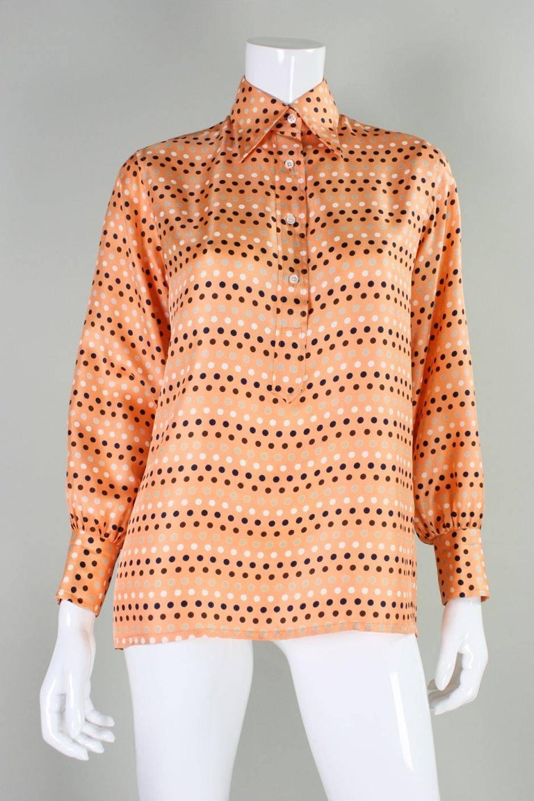 Women's 1970's Valentino Polka-dotted Silk Blouse with Sash For Sale