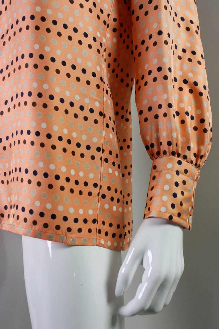 1970's Valentino Polka-dotted Silk Blouse with Sash For Sale 3