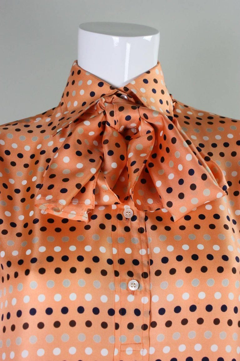 1970's Valentino Polka-dotted Silk Blouse with Sash For Sale 2