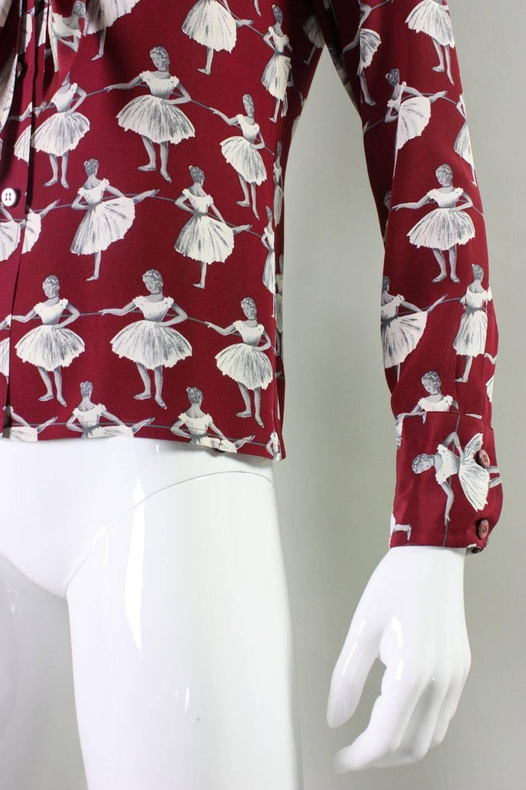 1970's Valentino Silk Blouse with Ballerina Print For Sale 3