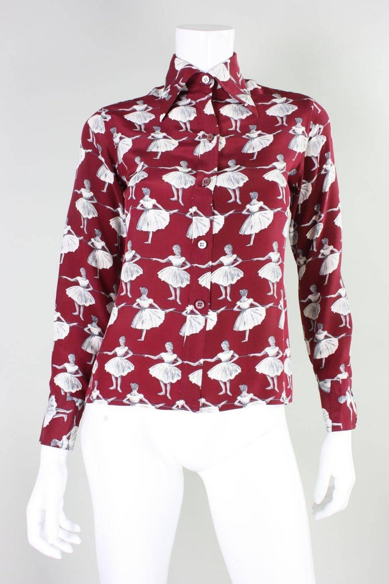 Women's 1970's Valentino Silk Blouse with Ballerina Print For Sale