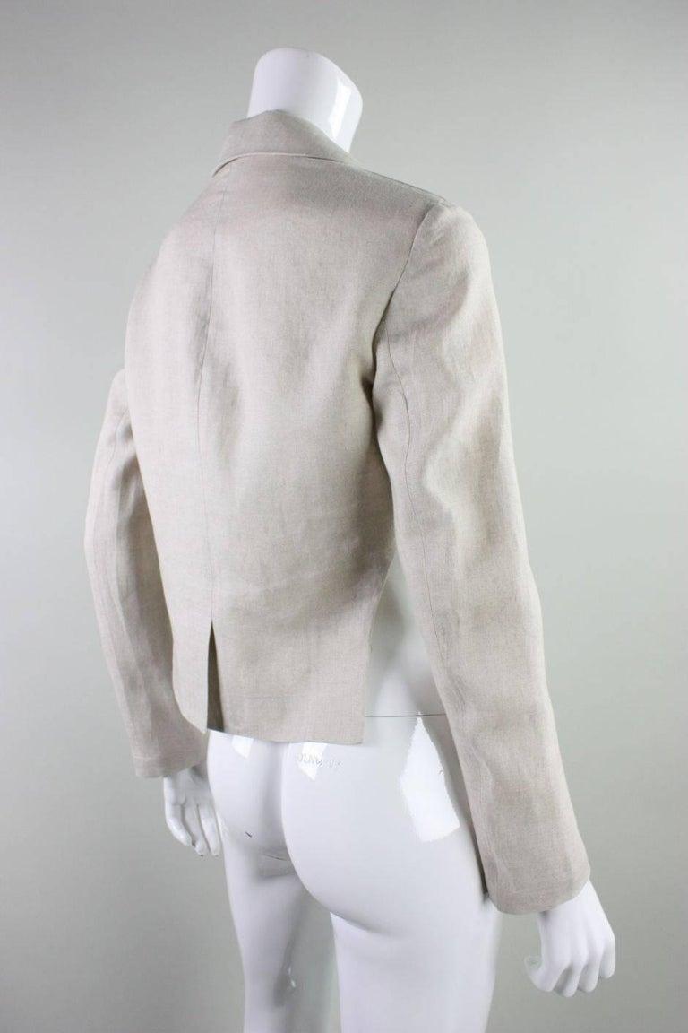 Gray Yohji Yamamoto Cutaway Linen Jacket For Sale