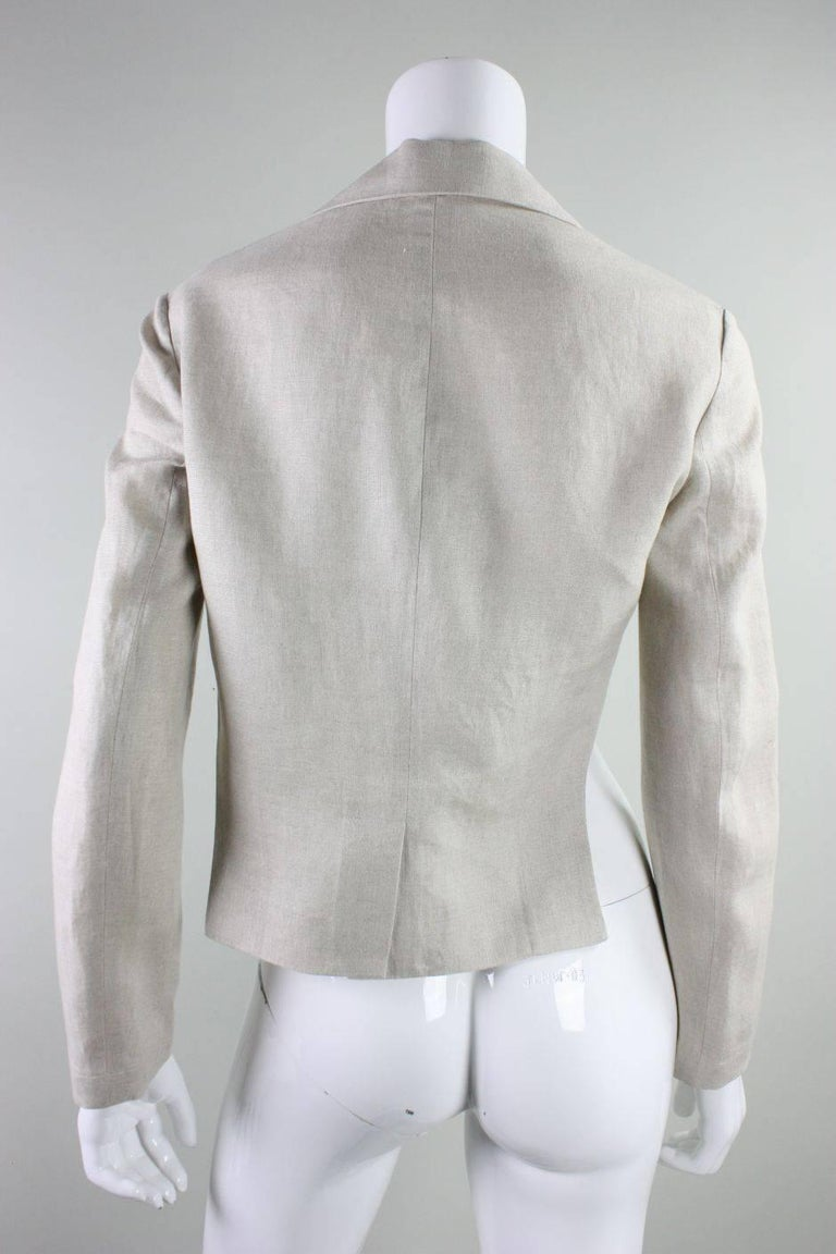 Yohji Yamamoto Cutaway Linen Jacket In Excellent Condition For Sale In Los Angeles, CA