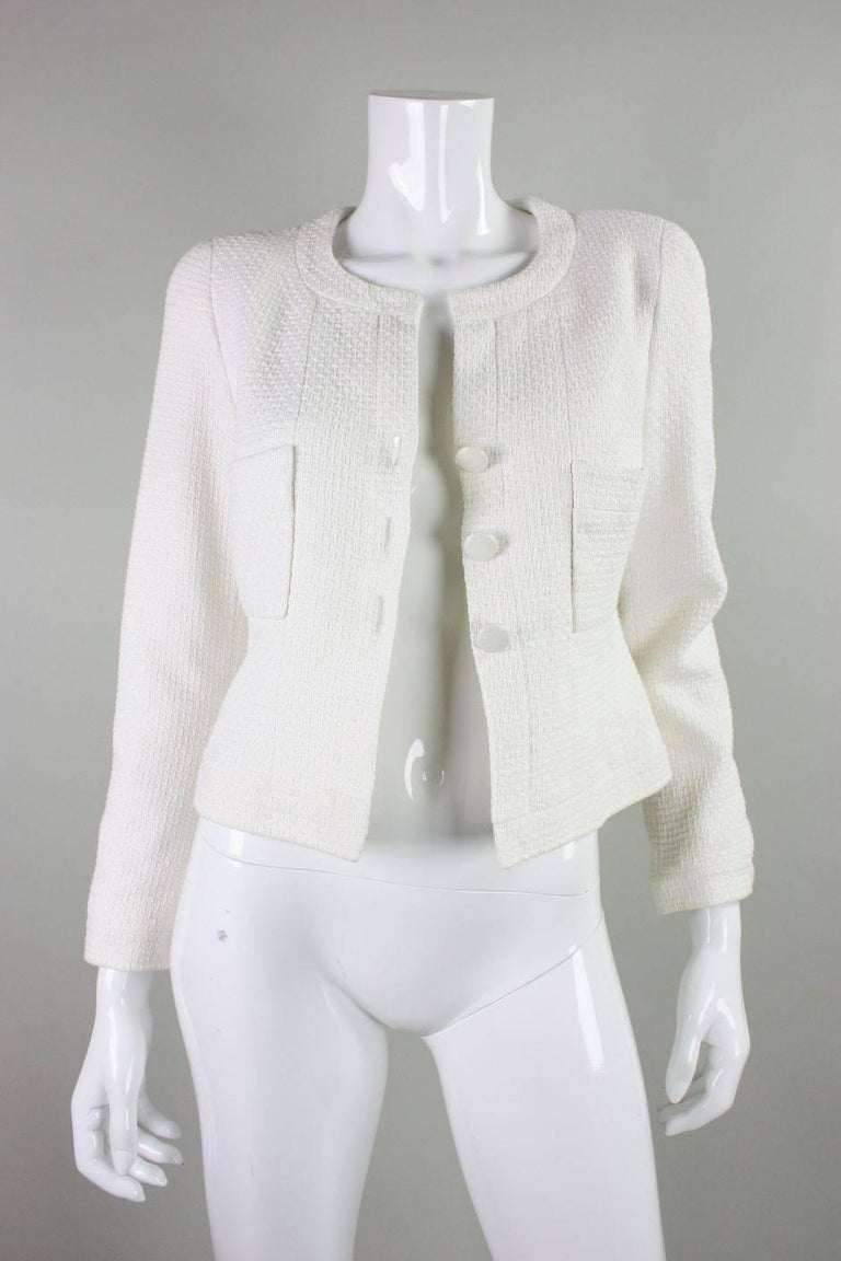 Women's 1990's Chanel Cropped White Textured Jacket For Sale