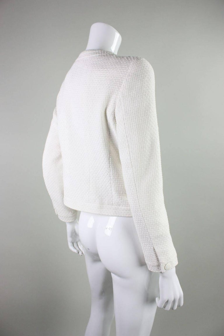 Gray 1990's Chanel Cropped White Textured Jacket For Sale