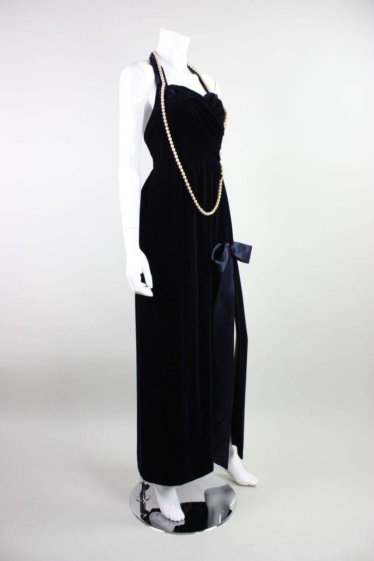 Black 1990's Chanel Velvet Gown with Pearl Detailing For Sale