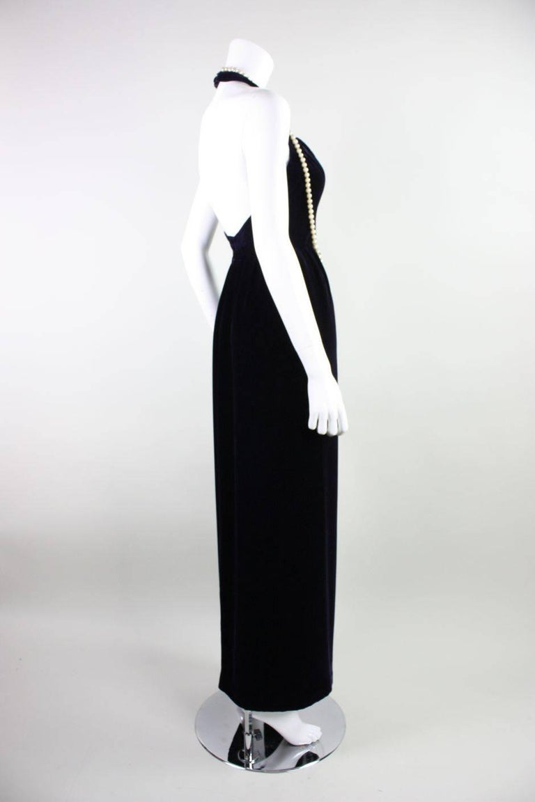 1990's Chanel Velvet Gown with Pearl Detailing In Excellent Condition For Sale In Los Angeles, CA