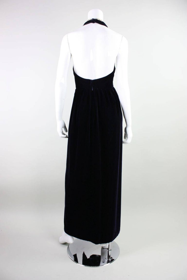 Women's 1990's Chanel Velvet Gown with Pearl Detailing For Sale