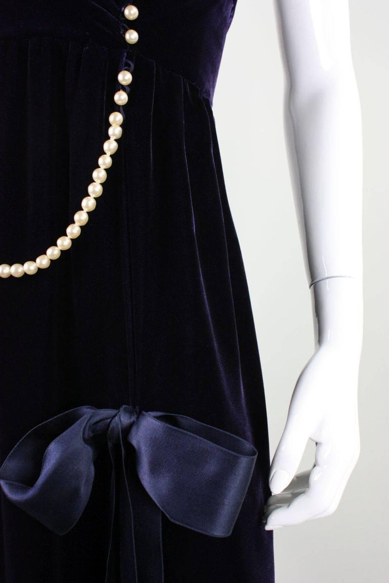1990's Chanel Velvet Gown with Pearl Detailing For Sale 2