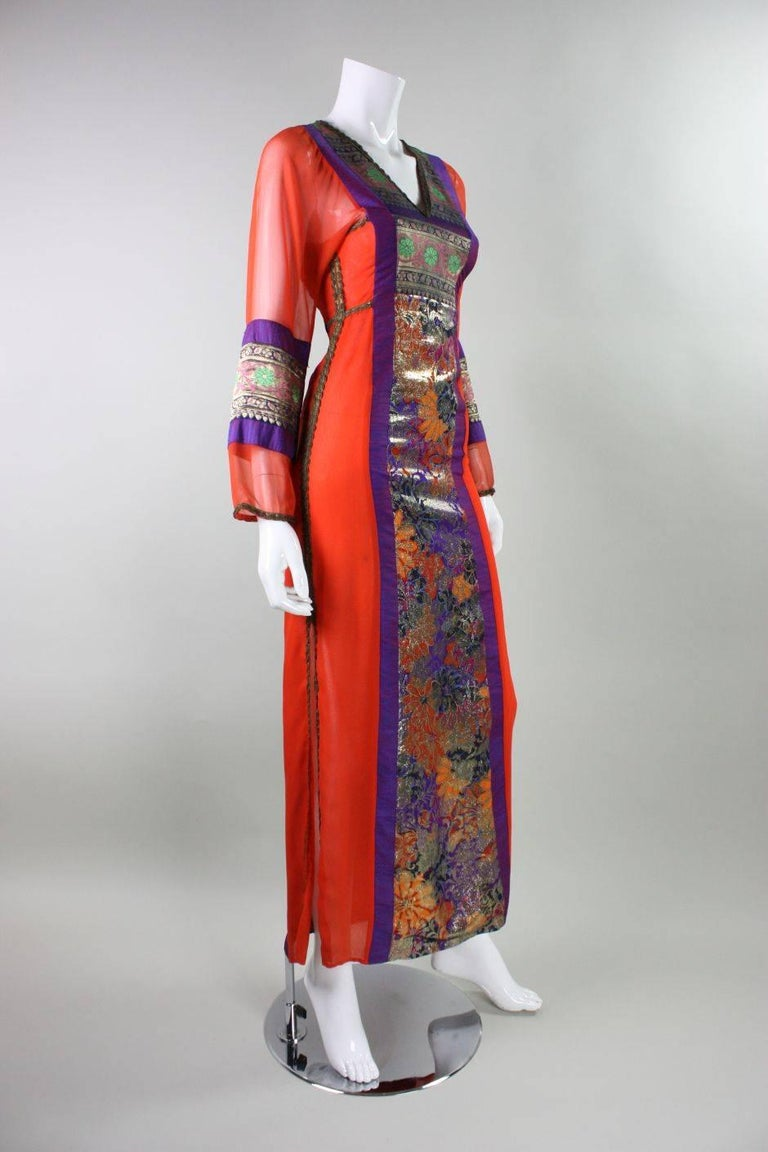 Brown 1970's Thea Porter Metallic Silk Gown For Sale