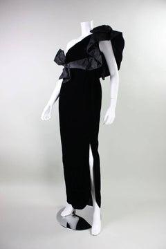 1980's Adolfo Asymmetrical Velvet Gown with Ruffled Shoulder