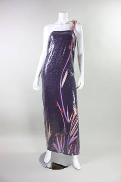 1970's Anonymous One-Shouldered Sequined Gown