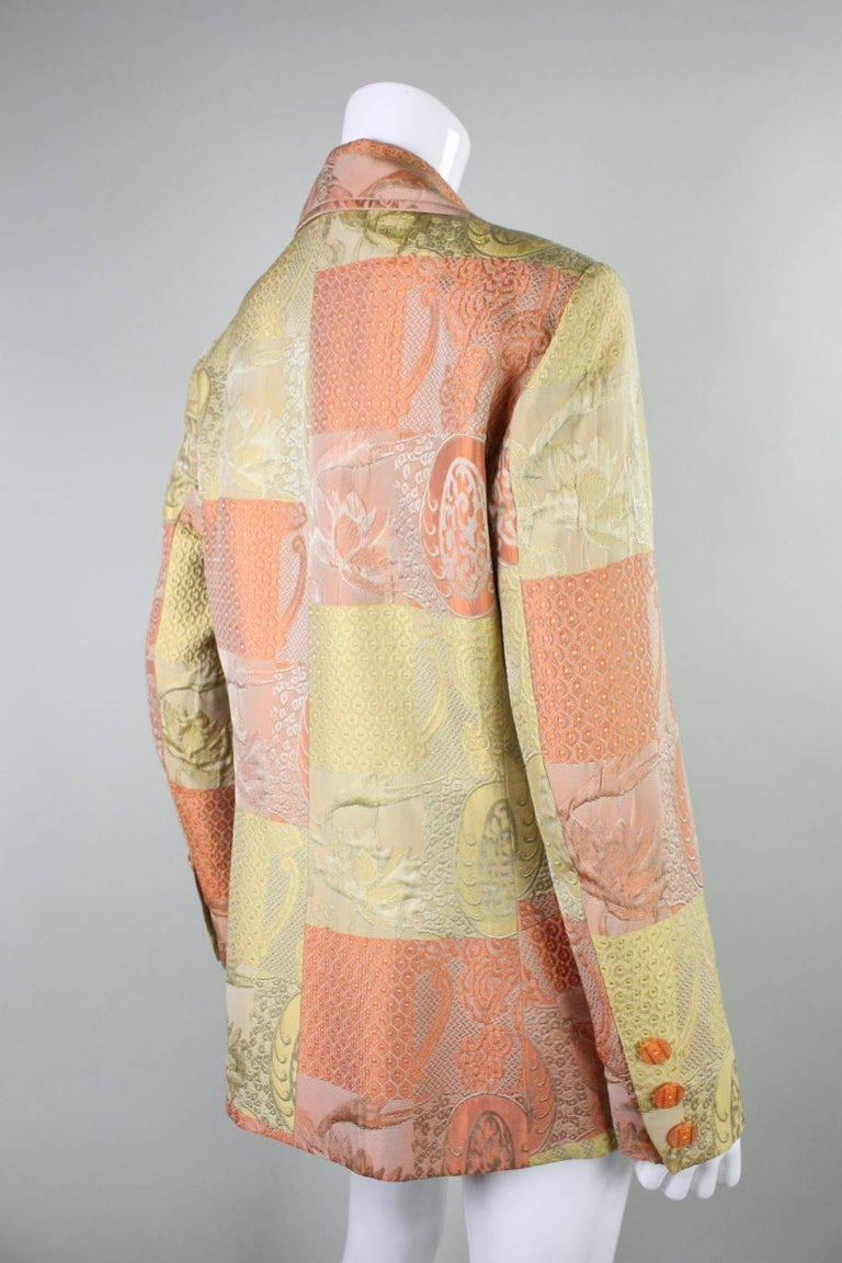 Beige 1990's Christian Lacroix Jacquard Blazer For Sale